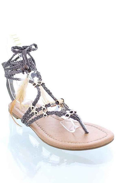 Gray Gladiator Lace Up Sandals