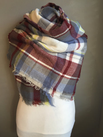 Red Blue Yellow White Grey Blanket Scarf