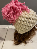 Ivory and Pink Chunky Crochet Hat