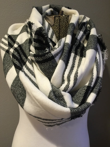 Plaid Black and White Blanket Scarf