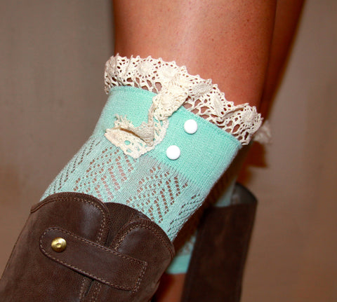 Aqua Boot Cuff with Lace Detail