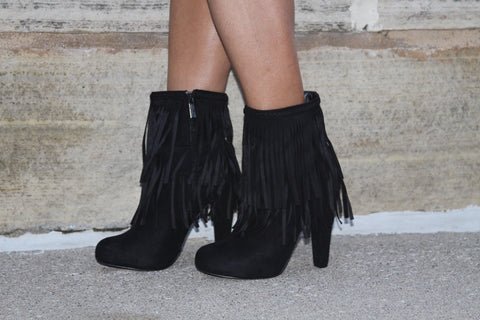 Fringe Booties in Black Suede Heels