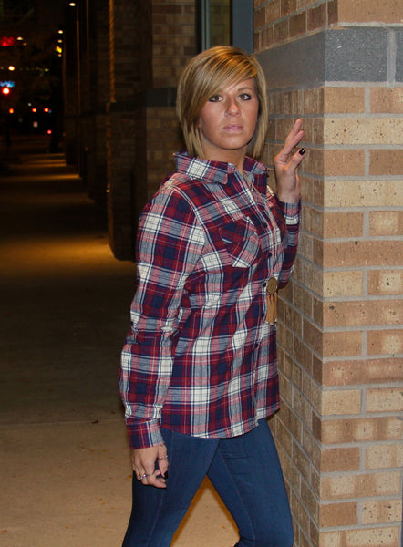 Red Plaid Print Top with optional roll up sleeves and front pockets