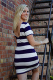 Navy and White Knit Scoop Back, Wide Striped Dress