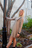 Tan and Black Bamboo Tie Dye Print Trapeze Dress