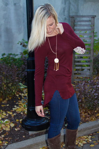 Dark Wine Red Long Sleeve Crochet Elbow Patch Top