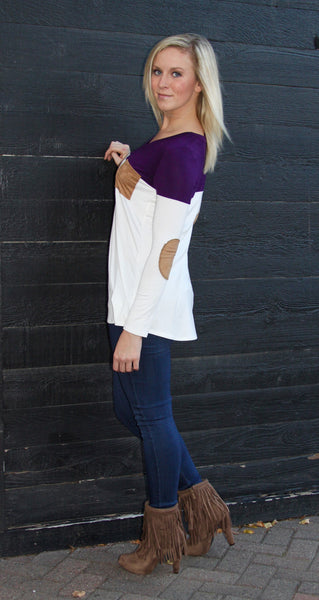 Plum and White Color Block Top Suede Accent