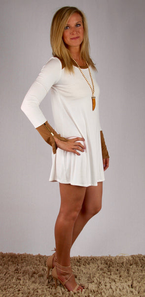 White with Suede Shoulder and Cuff Zipper Sleeve Dress