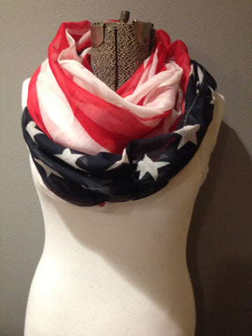 American Flag patriotic Red White and Blue Stars and Stripes infinity circle loop or eternity scarf