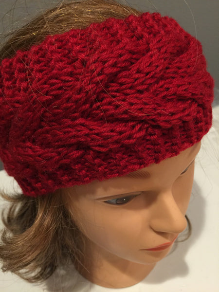 Red Cable Knit Headband