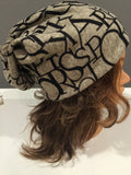 Beige with Black Lettering Hat Skullie Beanie or Headband