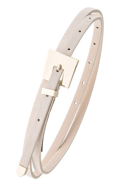 Slim Ivory Metal Buckle Belt
