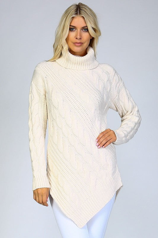 Chunky Knit Pointed Turtleneck Sweater