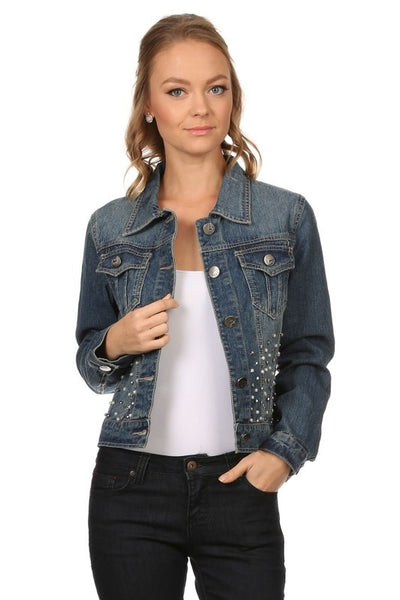 Denim Hip Length Buttoned Embellished Jacket