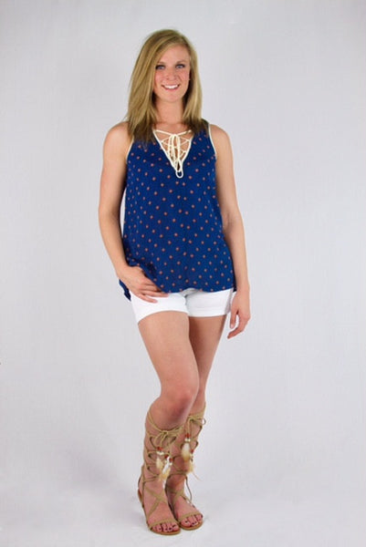 Navy Printed Lace Up Swing Tank