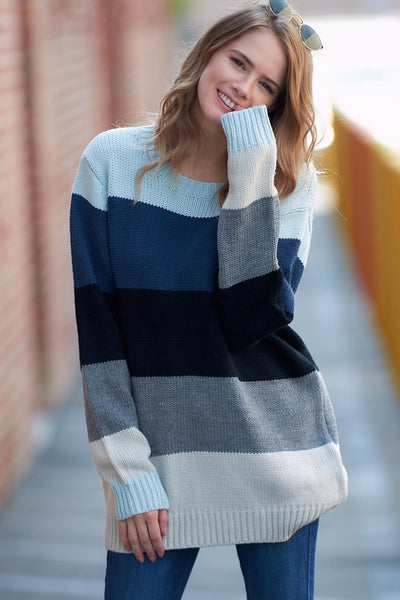Long Sleeve Color-block Striped Sweater