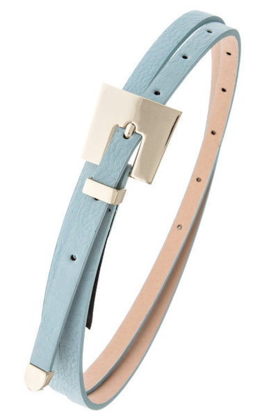 Slim Light Blue Metal Buckle Belt