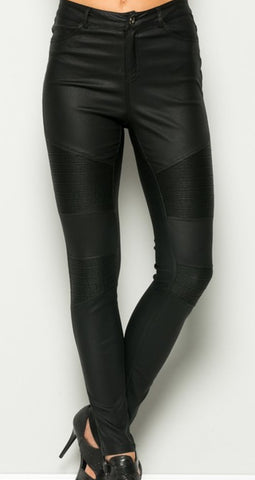 Black Moto Metallic Pants