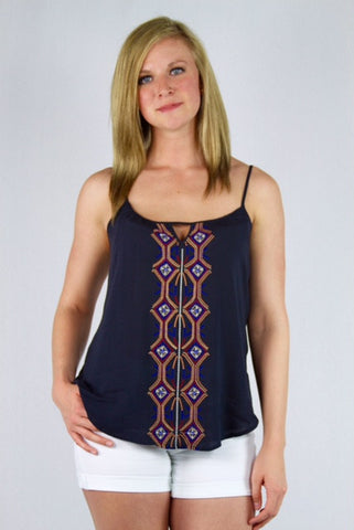 Embroidered Navy Spaghetti Strap Camisole
