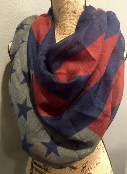 Navy, Deep Red and Gray American Flag Patriotic Scarf