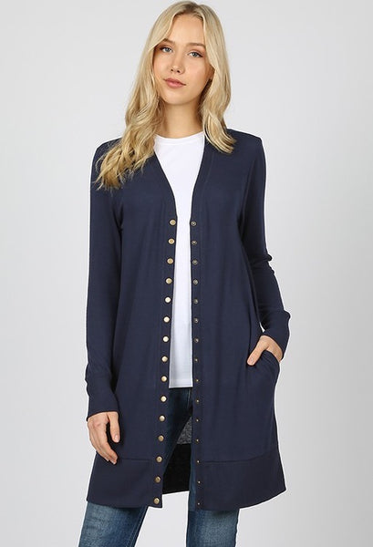 Navy Long Snap Cardigan