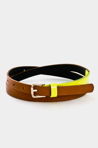 Slim Faux Brown Leather and Neon Yellow Patent Belt