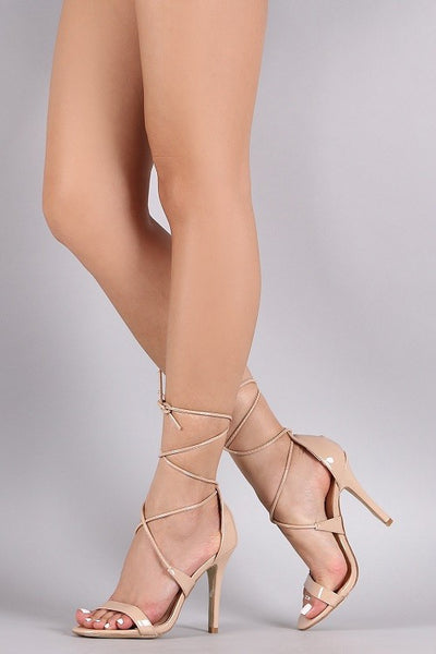 Nude Lace Up Patent Heels