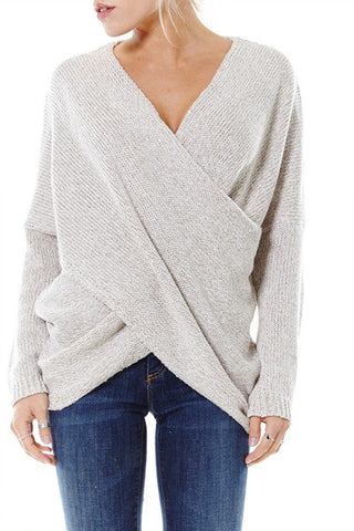 Beige Drape Knit Sweater
