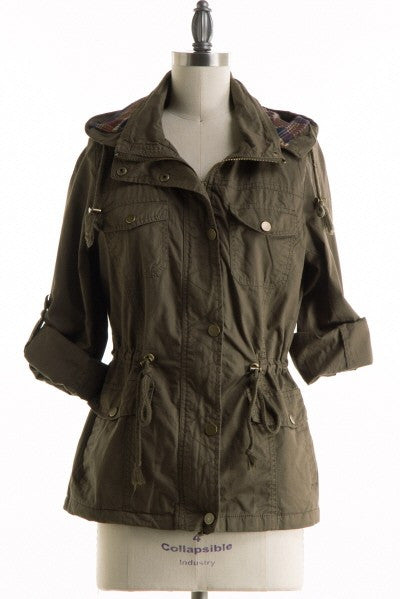 Military Cargo Jacket With Plaid Lined