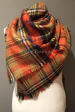 Tan Orange Navy Yellow and White Tartan Plaid Oversized Blanket Scarf