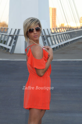 Open Shoulder Burnt Orange Romper