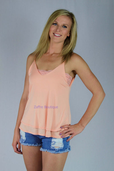 Double Layer Plunge Back Top