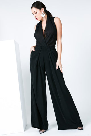 Pleated Front Wide Leg Trousers