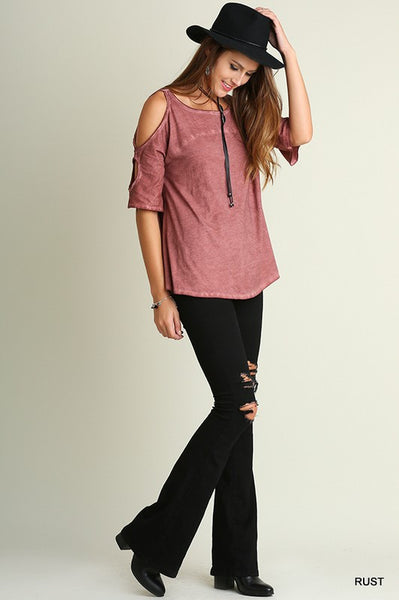Rust Red Washed Open Shoulder Top