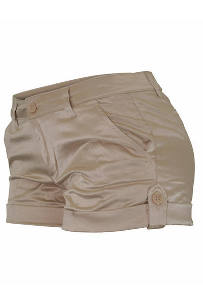 Twill Welt-Pocket Satin Shorts Khaki