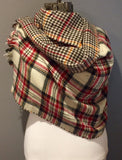 Red Black Ivory and yellow Plaid Oversized Blanket Scarf