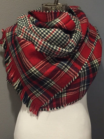 Red Black and Ivory Plaid Oversized Blanket Scarf