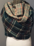 Green Black Orange and Ivory Plaid Oversized Blanket Scarf