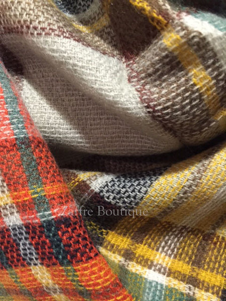 Gray Orange Yellow Brown And Green Plaid Oversized Blanket