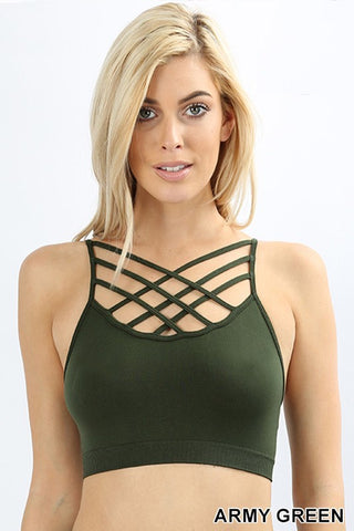 Seamless Padded Criss Cross Front Cami