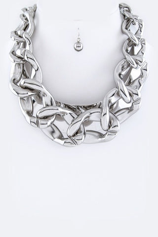 Chunky Chain & Metal Collar Necklace Set Silver