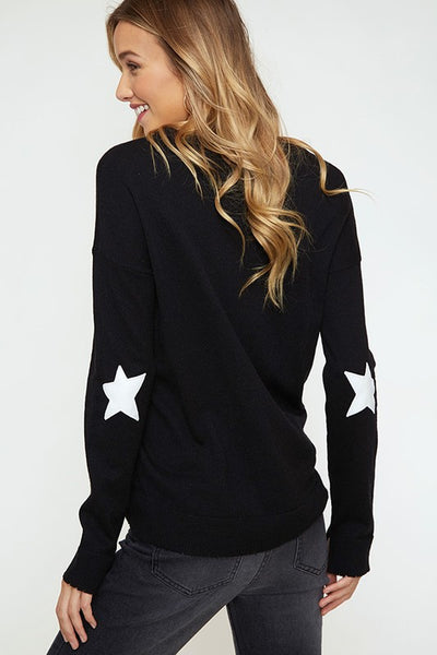 Star Elbow Print Sweater