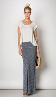 Fold Over Striped Maxi Skirt