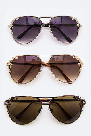 Metal Flower Accent Aviator Sunglasses