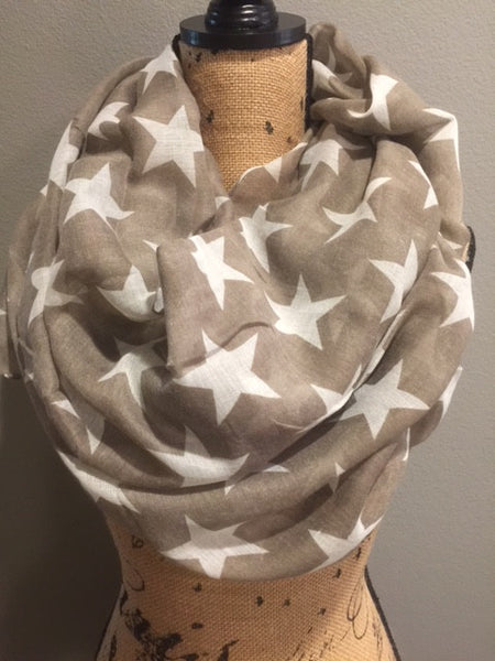 Tan with White Stars Patriotic Scarf