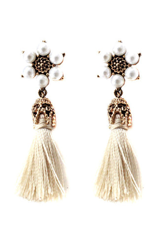 Floral Pearl Post Earrings with Tassels