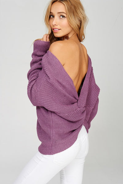 Black or Lilac Twist Front or Back Sweater