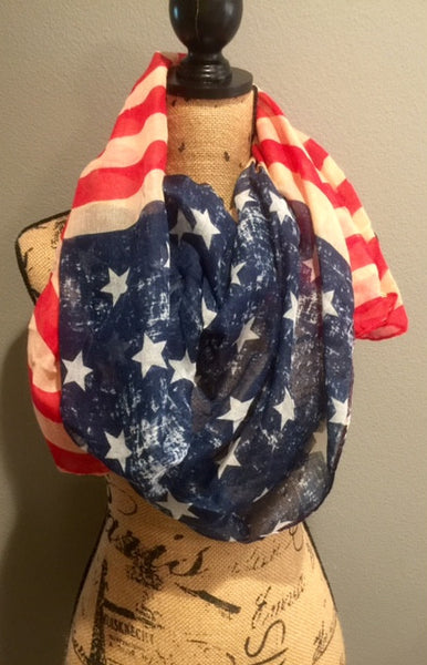 Vintage American Flag Patriotic Red White and Blue Stars and Stripes Scarf