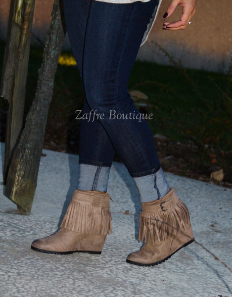 Fringe Wedge Booties in Taupe Brown Suede Heels