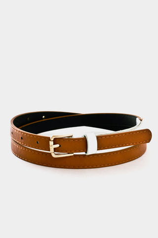 Slim Faux Brown Leather and White Patent Belt